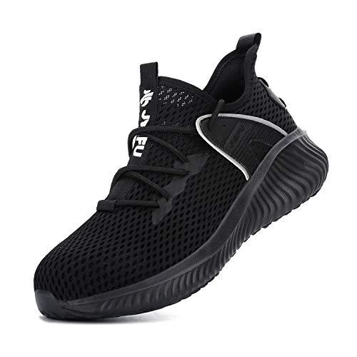 Zapatos de seguridad para hombre y mujer de acero puntera antipinchazos zapatos de trabajo antideslizante resistente al desgaste zapatillas de deporte, color Negro, talla 46 EU