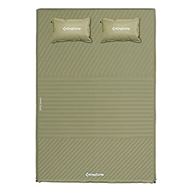 KingCamp TRIPLE ZONE Comfort Double Self Inflating 75D Micro Brushed Sleeping Pad Mattress 2 Pillows (Beige)