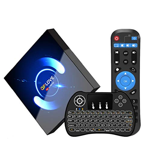 Android 10.0 TV Box, QPLOVE Q6【4G + 32G】 TV Android Box mit Tastatur, BT 5.0 Quad-Core H616 64 Bits, WiFi Double 2,4 G / 5 GHz, LAN 100M, 6K Smart TV Box