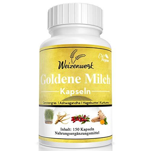 Weizenwerk - Goldene Milch Kapseln - Golden Milk - Kurkuma Latte - mit Kurkuma, Gerstengras, Ashwagandha und Hagebutte – Monatspackung 150 vegane Kapseln