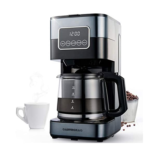 Gastrorag Drip Coffee Maker – 10-Cup Programmable Coffee Machine with Glass...