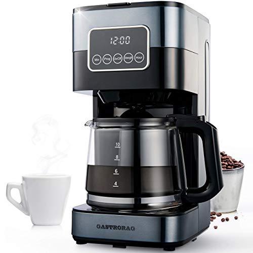 Gastrorag Cafetera de goteo de 10 tazas – Máquina de café programable con jarra de vidrio, mantener caliente, filtro permanente, CM-1290B (negro)