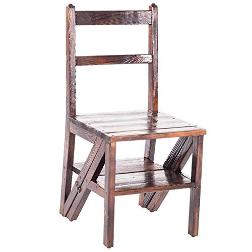 HYL Leiter Hocker Falten Treppenstuhl Massivholz Leiter Stuhl Dual Use Multifunktion Gastronomie Hocker Dual-Use-Holz