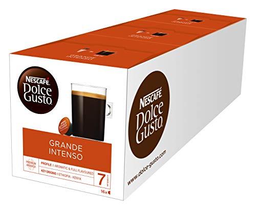 NESCAFÉ Dolce Gusto Grande Intenso | 48 Kaffeekapseln | Arabica Bohnen aus Ostafrika und Südamerika | Haselnussbraune Crema | Aromaversiegelte Kapseln | 3er Pack (3 x 16 Kapseln)