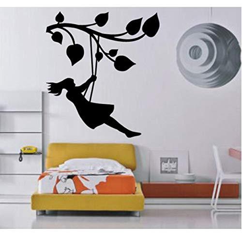 AKmene Chica Columpio decoración de la habitación de los niños Pintura de Pared Vinilo Adhesivo 74x113cm 74x113cm