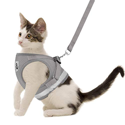 """Cat Harnesses and Puppy Harness with Leashes Set, Escape Proof Cat Harness, Adjustable Reflective Soft Mesh Vest Fit Puppy Kitten Rabbit Ferrets's Outdoor Harness (Grey, S, Chest: 10"""" - 12"""")"""