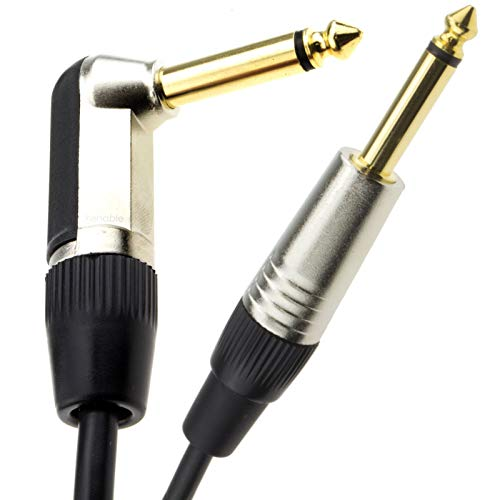 kenable GOLD Right Angle MONO Jack 6.35mm Guitar/Amp LOW NOISE Cable Lead...