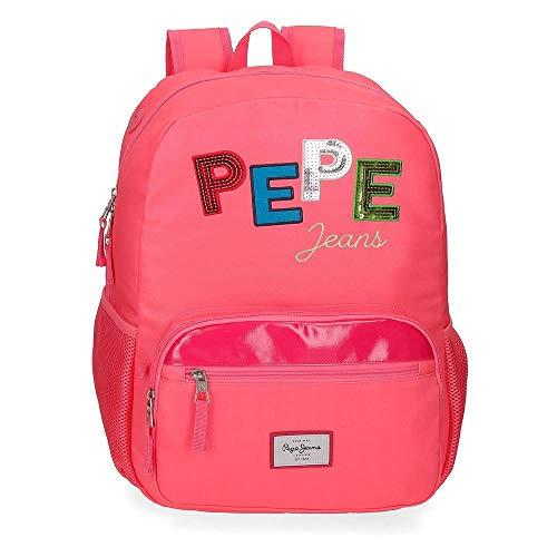 Pepe Jeans Kim Mochila Adaptable Rosa 32x43x15 cms Poliéster 20,64 L