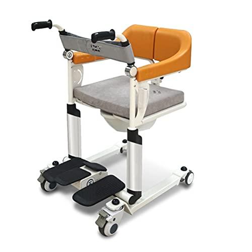 Silla de Ruedas Plegable Ligera para discapacitados y Mayores, Plegable Reposabrazos, Reposapiés Ajuste de Altura, Cinturon de Seguridad,Amarillo