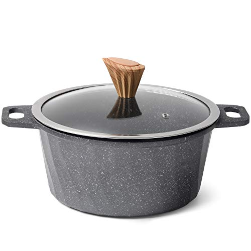 YIIFEEO Stone Nonstick Stockpot, Sauce Pan with Lid and Wooden Handle, Cookware Pot Compatible for Induction(5QT)