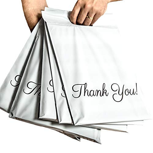 Poly Mailers 10x13 with Handle, 100 Pack Packaging Bags, Thank You Mailing Envelopes, Shipping Bags for Clothing, 2.75 Mil Thickness Mailers, Shipping Envelopes with Self Adhesive Strip, Donyson