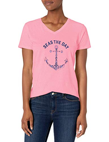Life Is Good Femmes Crusher Vee T-Shirt Primal Anchor Womens Crusher Vee: Plage/Océan/Soleil XS Happy Pink