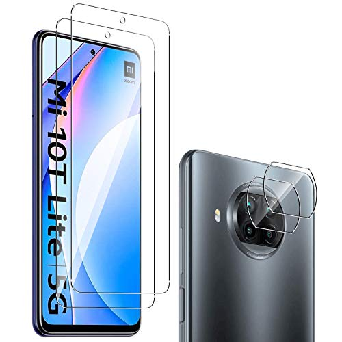 GEEMEE für Xiaomi Mi 10T Lite Protector de Pantalla + Protector de Lente de cámara,【2 Pack+ 2 Pack 】 Cristal Templado Película Vidrio Templado 9H Alta Definicion Glass Screen Protecto