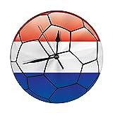 Butty Reloj de Pared Moderno Bandera de Holanda en balón de fútbol Reloj Redondo Decorativo silencioso
