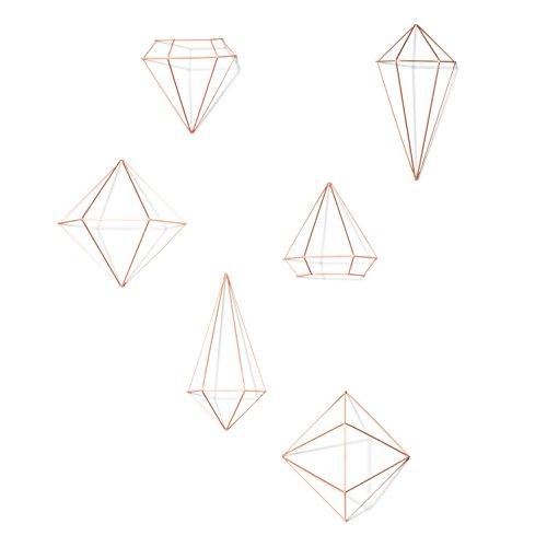 Umbra Prisma Geometrische Wanddekoration – Deko zum Aufhängen an Wand und Decke oder als Tischdekoration Verwendbar, Set mit 6 Prisma Hälften, Metall / Kupfer