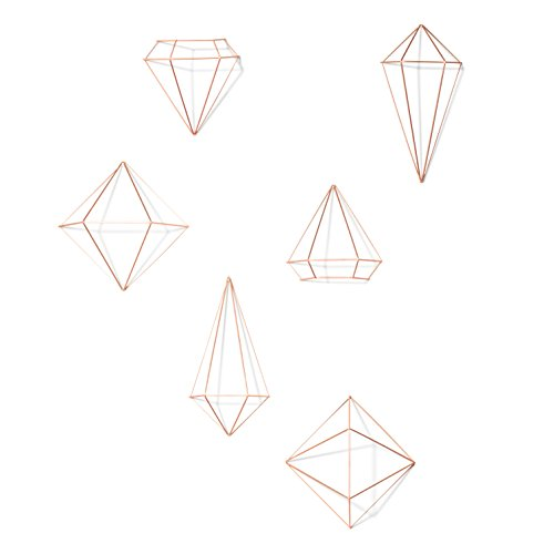 Umbra Prisma Geometric Sculptures, Decorate Your Wall with Modern Metallic Wire Shapes, Table top, Ceiling Dcor, Set of 6, Copper