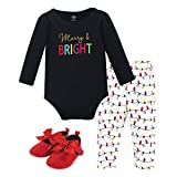 Hudson Baby Unisex Baby Cotton Bodysuit, Pant and Shoe Set, Merry & Bright, 12-18 Months