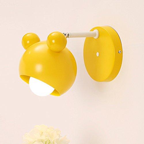 Applique murale mignonne lampe de couloir lampe murale de chambre d'enfant lampe de chevet de chambre de dessin animé garçon et fille lampe enfant de couleur enfant A+ (Color : Yellow)
