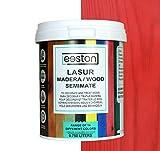Pintura lasur para maderas, tratamiento para exterior e interior, fácil aplicación y limpieza gracias a su base al agua, acción protectora a largo tiempo, 14 colores (0,75 L, Rojo)