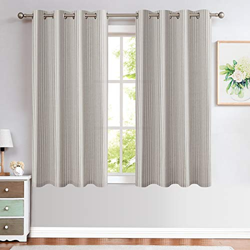 Grey Linen Textured Curtains for Living Room Stripe Pattern Grommet Top Light Reducing Window Treatment Set for Bedroom 2 Panels 63 inch Length Gray