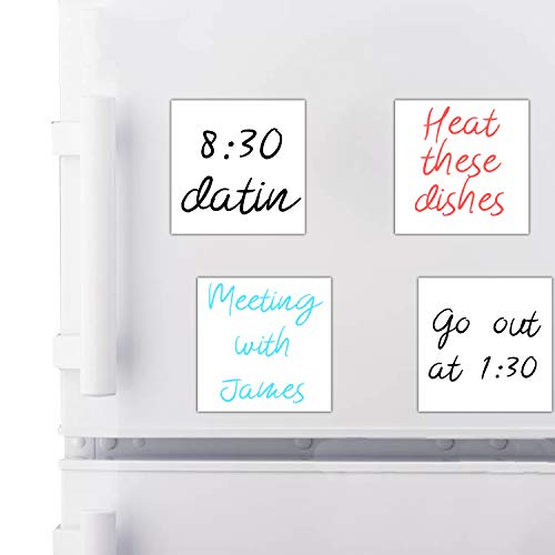 BRO-t Magnetic Dry Erase Labels Name Plates 4 x 4 ReusableEffective on Schedule Board whiteboard for Lockers Fridge and Classroom Behavior ChartSticky Note Rectangle Magnet 4pack