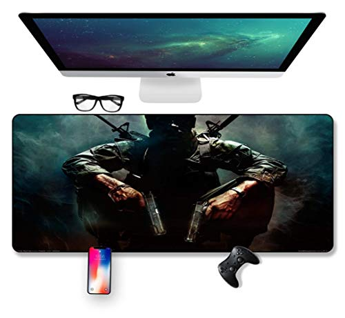 Mouse Mat Mission Warrior, Black Action 700X300mm muismat, Speed Gaming Mousepad, Extended XXL grote Mousemat met 2mm-dikke basis, voor notebooks, PC, J