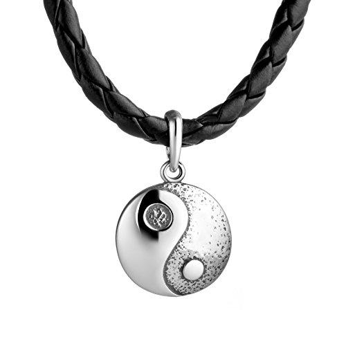 STERLL Herren Hals-Kette Leder Schwarz Yin-Yang tai Chi-Anhänger Silber 925 Schmuck-Beutel Kleine Geschenke für Männer