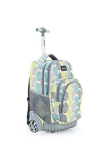 Tilami Kids Rolling Backpack 18 inch Boys and Girls Laptop Backpack, Leaves