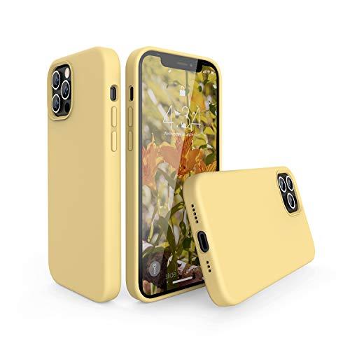 abitku Custodia in Silicone per iPhone 12/iPhone 12 PRO(6,1 Pollici), Cover Sottile in Silicone Liquido in Gomma Gel Morbida per iPhone 12 PRO/iPhone 12,Giallo