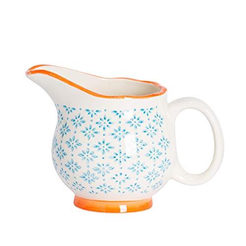 Nicola Spring Pot à Lait/à sauces/à crème à crème à Motifs en Porcelaine - Bleu/Orange - 300 ML