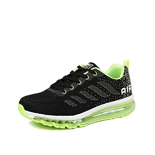 Uomo Donna Scarpe da Ginnastica Sportive Sneakers Sport Running Basse Basket Outdoor Fitness Black Green 36