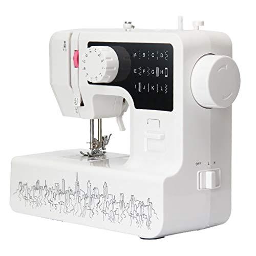 WANGLXST Mini Maquina de Coser Portatil con Luz de LED, Maquina de Coser Electrica 12 Puntadas, Portatil y Versátil Máquina de Coser, White