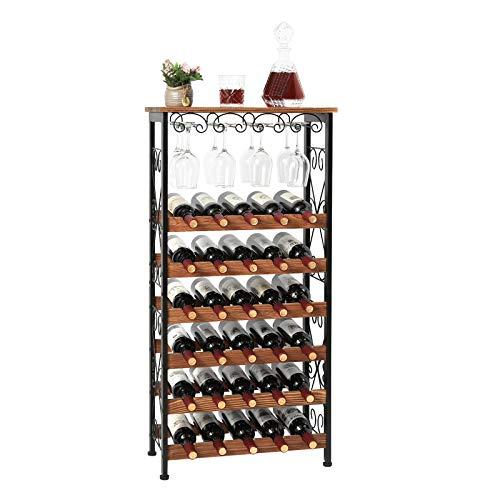 Estante rústico para vino de piso de 30 botellas con soporte para copa de vino, Soporte de almacenamiento de exhibición de organizador de botella de vino independiente de 6 niveles para despensa