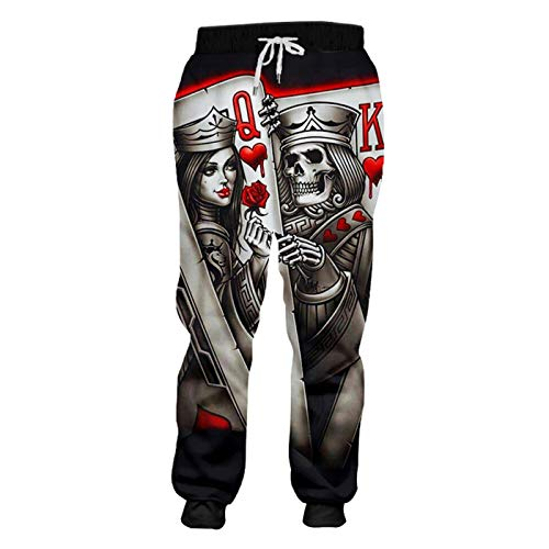 Mode Männer Harem Pants 3D Print Queen und König Poker Schädel Jogginghose Queen and King Poker L