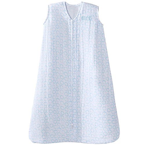 HALO 100% Cotton Muslin Sleepsack Wearable Blanket, TOG 0.5, Circles Turquoise, Small