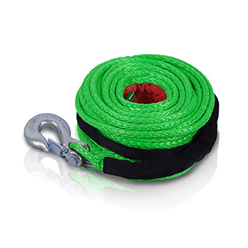 """STEGODON 3/8"""" x 100ft Synthetic Winch Rope 23,809lbs Dyneema Winch Cable Line with Hook and Sleeve ProtectionCar Tow Recovery Cable for 4WD Off Road Vehicle Truck SUV Jeep(Green)"""