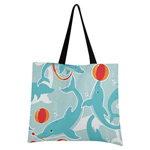XIXIXIKO - Bolsa de lona para mujer, diseño de delfín, diseño de animales marinos, ligera, para playa, viajes, para mujer