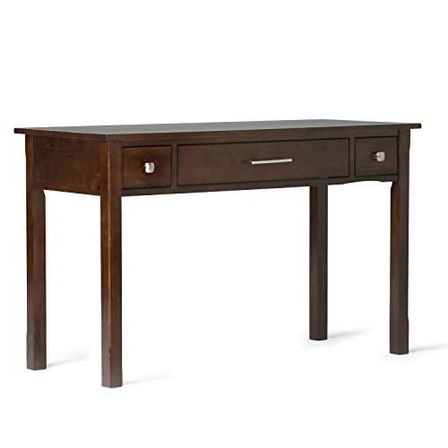 Simpli Home AXCAVA008 Avalon Solid Wood Contemporary 47 inch Wide Writing Office Desk in Dark Tobacco Brown