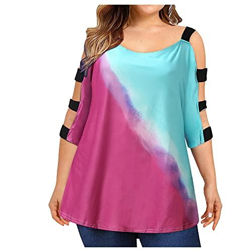 YANFANG Blusa Estampada Suelta Talla Grande para Mujer,Blusas De Mujer Verano Elegantes Camisetas T Shirt Estampado Top Casual,Multicolor,3XL