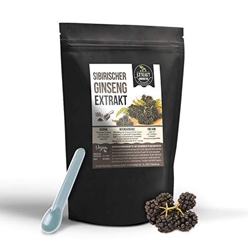 Sibirischer Ginseng EXTRAKT | 0,8% Eleutheroside | 100g PULVER | Taiga Wurzel ohne Zusatzstoffe und laborgeprüft | hochdosiert vegan und in Deutschland abgefüllt | (Pulver 100g)