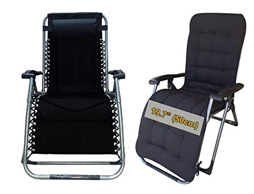Four Seasons BeiJiaEr with Cushion Heavy Duty Zero Gravity Chair Lounger Recliner Folding Adjustable Portable Office Patio Sports Camping Outdoor with Square Legs & Cup Holder Support 330 LBS