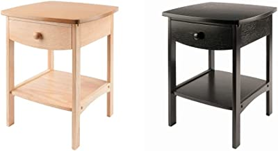 Winsome 82218 Wood Claire Accent Table, Natural 18 inches & Wood Claire Accent Table, Black
