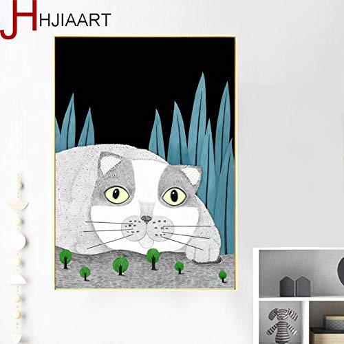 Katze leinwand malerei Poster und Foto wandkunst leinwand malerei Nordic Poster pop Art wandbild für Wohnzimmer Dekoration rahmenlose 70x105 cm