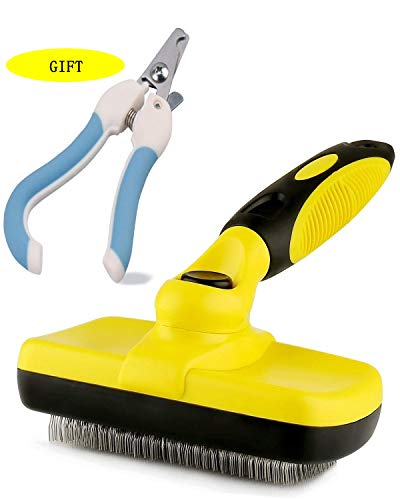 Maimuxi Pet Grooming Brush Yellow,Self Cleaning Slicker Brushes for Dogs,Cats and Big Pets,Long & Thick Hair Best Pet Shedding Tool ,Come with Pet Nail Clippers