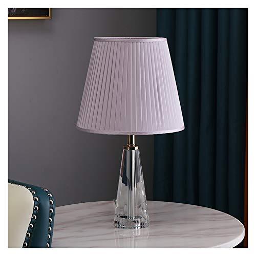 HONGFEISHANGMAO Lámpara de Mesa Lámpara de Mesa Moderna Altura 18,1 Pulgadas, 10,2 Pulgadas de diámetro con el Cristal Claro Color de Acabado Plisado Shade Iluminación de Interior (Color : Purple)