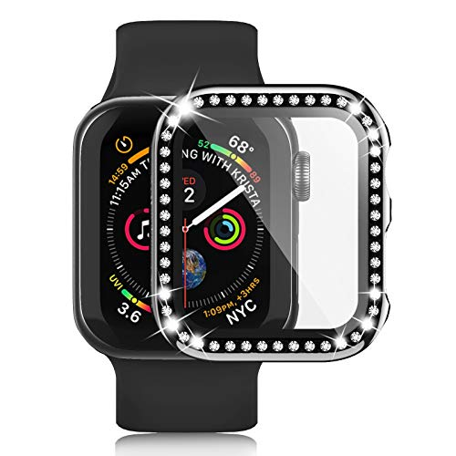 Apple Watch Case with Tempered Glass Screen Protector for iWatch 42mm Series 3/2/1, Anti-Scratch Hard PC Bumper Full Body Cover Bling Diamond Rhinestone Frame for Women Girls Accessories