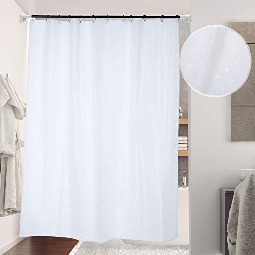 Lemecima Duschvorhang 180 x 200 Bad Vorhang Textil aus Polyester Badewanne Vorhang mit 12 Duschvorhängeringen Waschbar Bügelbar für Eck Badewann(Weiß)