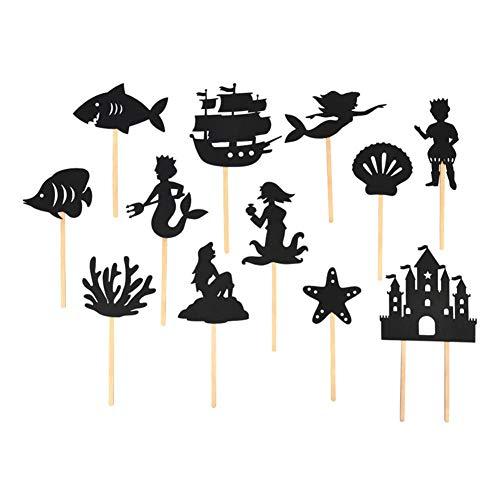 globalqi Die Kleine Meerjungfrau Schatten Puppen, 12 stücke Nacht Schatten Stick Puppen Theater Kinder Märchen Pädagogische Silhouette Spiel Eltern-Kind-Interaktion Interaktives Spiel