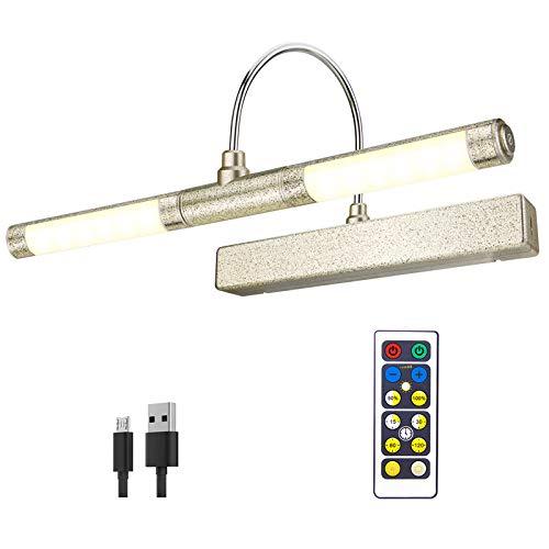 HONWELL Drahtlose Bilderlampe mit Fernbedienung, drehbarer LED-Lichtkopf mit Timer, wiederaufladbares Mallicht Dimmbare Wandleuchte zum Malen von Bildern, Grafikdisplay,Gold