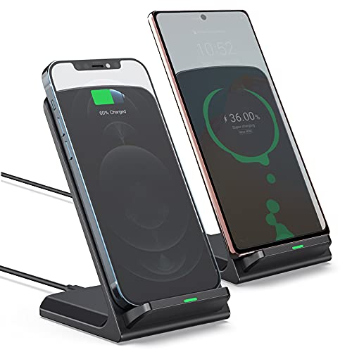 Wireless Charger Stand, EuSeneo 2 Pack Wireless Charger for iPhone 12/11/11 Pro/11 Pro Max/SE 2020/XS/XR/X, 15w Fast Charger for LG V50, Case-Friendly Qi Wireless Charging Station for Galaxy S21/S20
